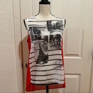 Graphic Tank Top Tunic Like New Small Blouse EUC